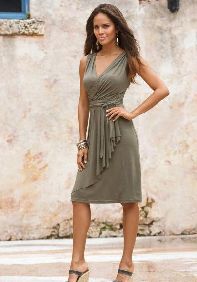 Short Taupe Grecian Dress