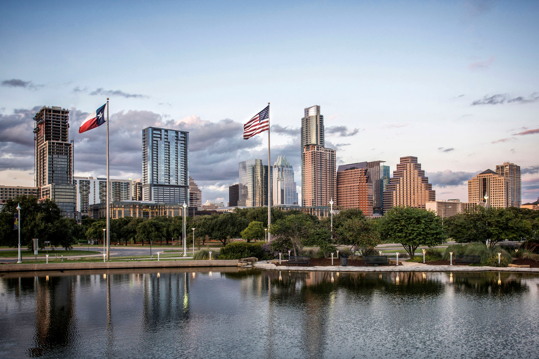 Austin Texas Skyline From Auditorium Shores, Texas and American Flag