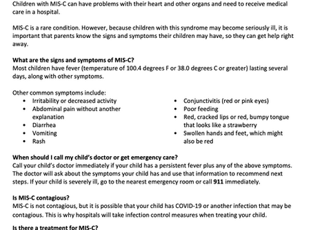 Information Related to Multisystem Inflammatory Syndrome in Children (MIS-C)