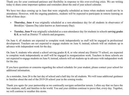 A Message for Parents & Students Regarding School on June 4th