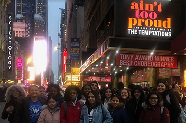Students outside the Ain't Too Proud marquee