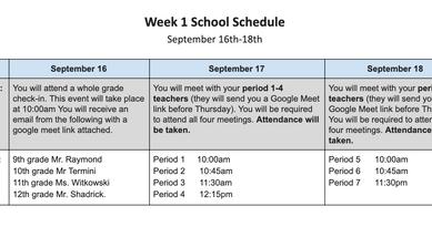 Week 1 Student Schedule