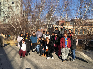 Students standing outside the Whitney Museum of American Art