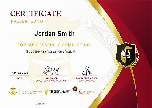 IACS COSHH Risk Assessor Certificate