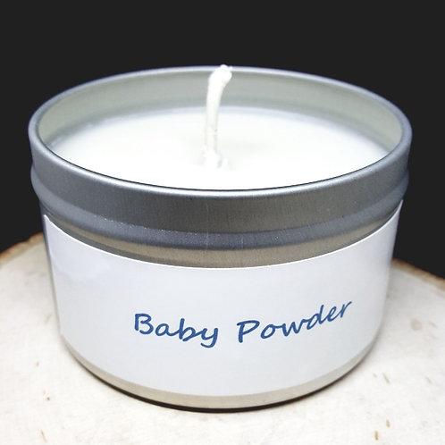 4oz Baby Powder Tin Candle