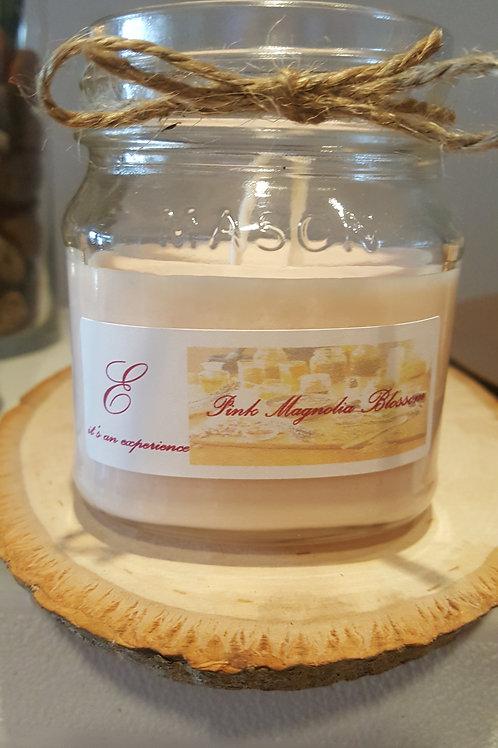 8oz Pink Magnolia Blossom Mason Glass Jar Candle
