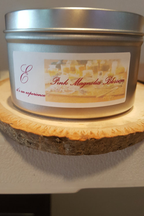 8oz Pink Magnolia Blossom Tin Can Candle