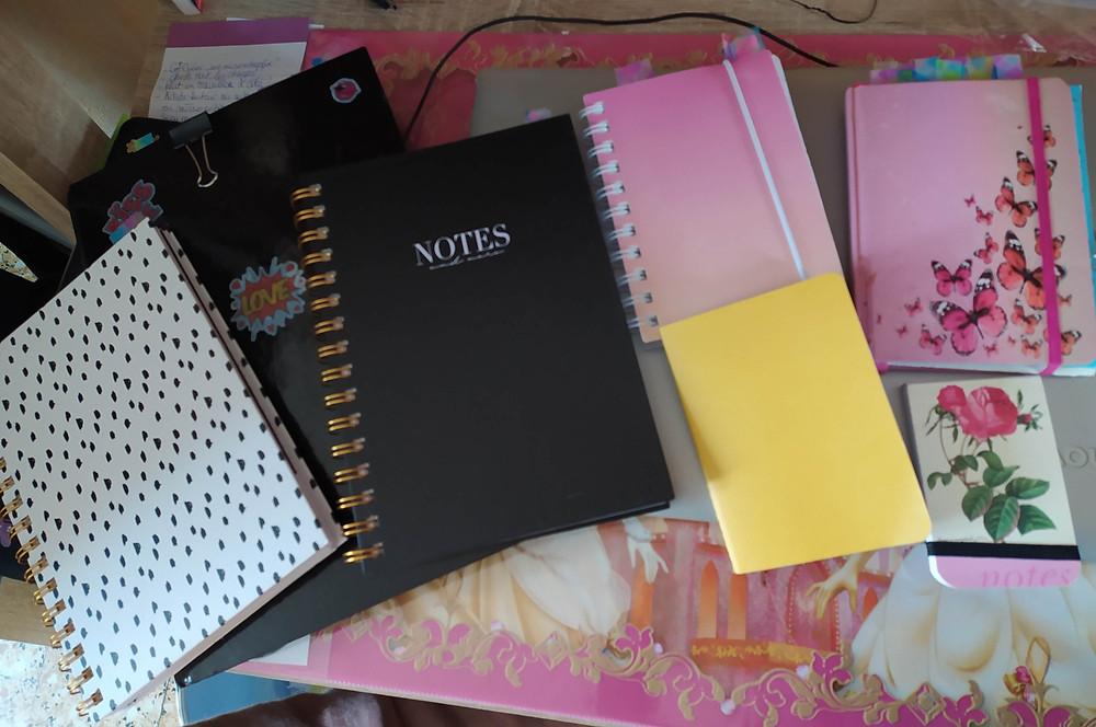 Différents carnets pour mes notes