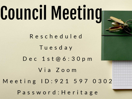 RESCHEDULED - November Council Meeting
