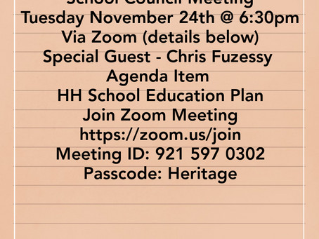 Council Meeting - Tues. Nov 24th@6:30pm