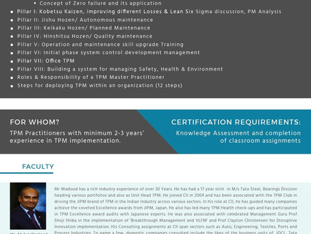 Accredited TPM Master Practitioner Dual Certification (TPM-MP) Programme by SSMI and TPM Club India
