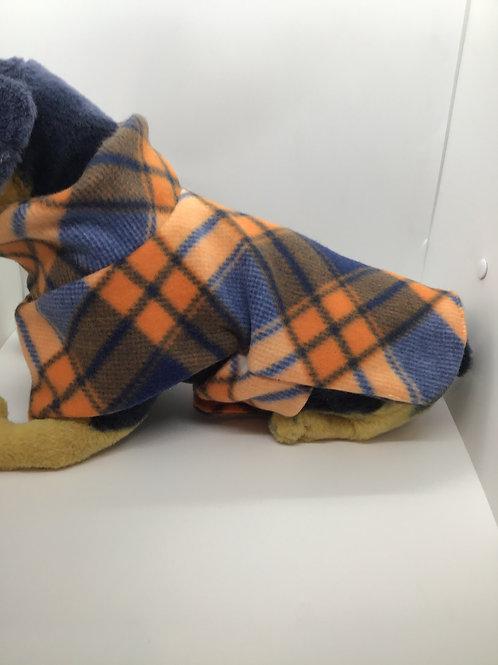 Orange Plaid Fleece Dog Coat