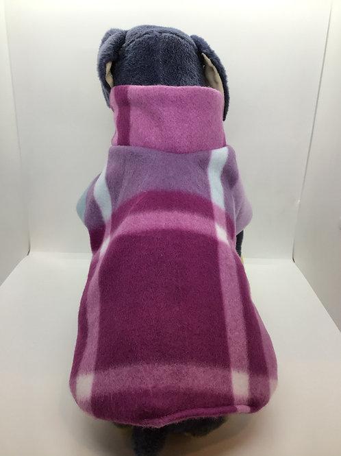 Purple Plaid Dog Fleece Jacket