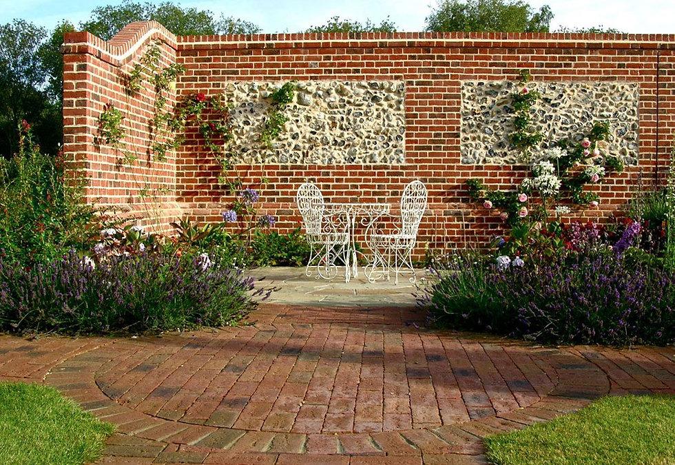 Garden Wall Brickwork with flint panel.j
