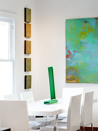 Interior design with table and sculpture