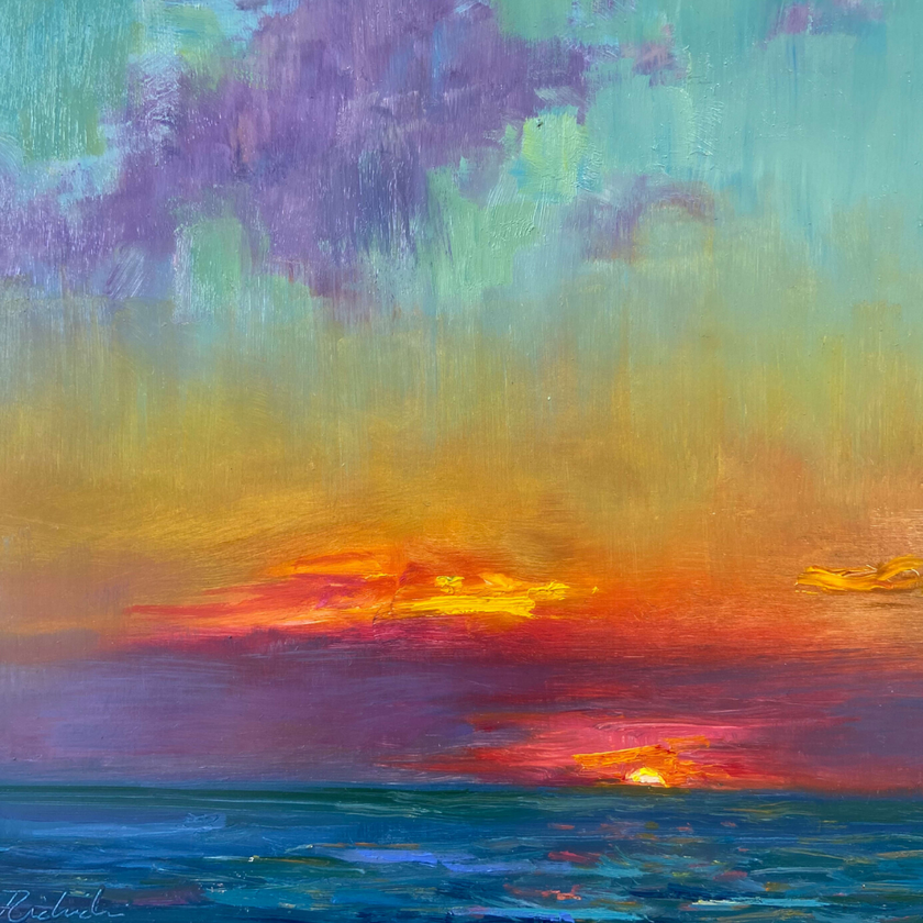 painting of the sunsetting