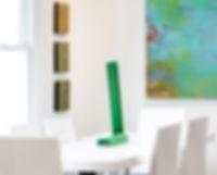 Table and sculpture. Interior design