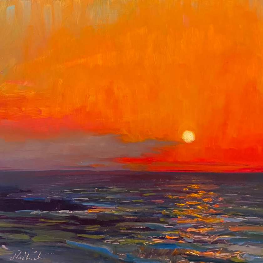 oil painting of a sunset