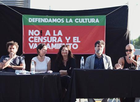 Conferencia de prensa en defensa del cine y de la cultura en Ventana Sur