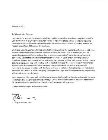 Lisa Hamel Letter of recommendation