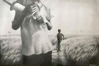 Manoj-Boy-with-Kite-Pencil-Shading-on-Pa