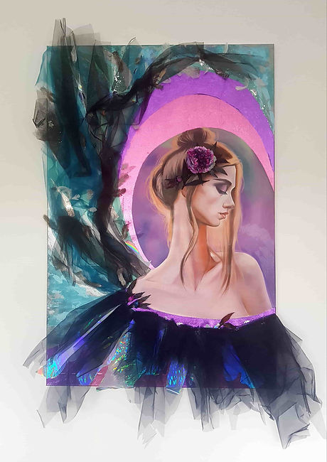 Natalia Byrdina | Angel of Tenderness Oil on Canvas, Textile, Potal, Mixed Media on a Stretcher | Online Art Gallery