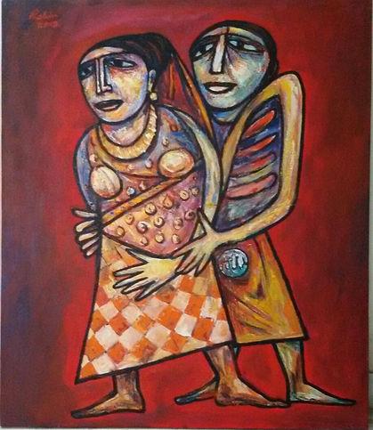 Rabin Mondal Couple Acrylic on Canvas 42