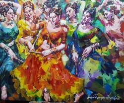 Subrata Gangopadhyay Dandia Raas Acrylic of Canvas