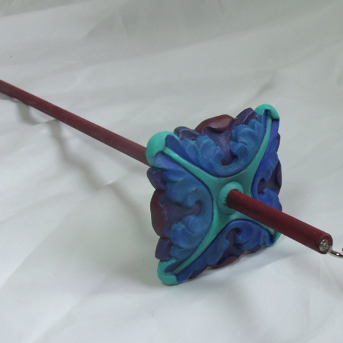 Teal, Blue and Purple Baroque Large Drop Spindle.