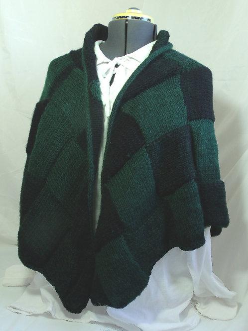 Gridlac shawl - green and black