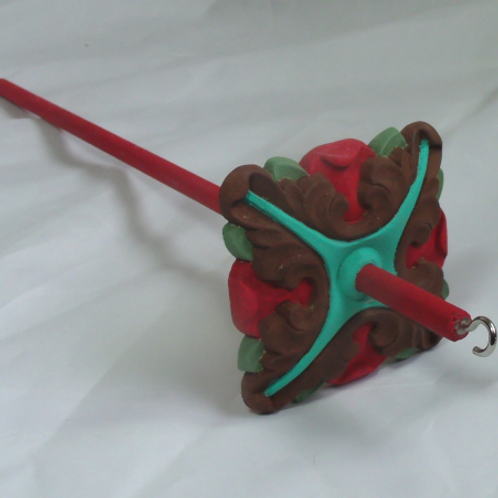 Turquoise, Red, Brown and Sage Baroque Large Drop Spindle