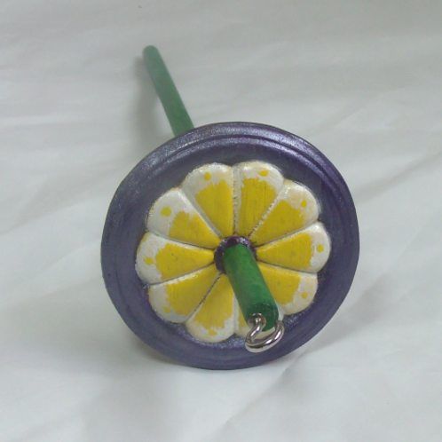 Yellow, Lavender and Green Daisy Medium Drop Spindle