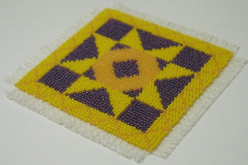 Beadpoint Coasters - Gold/Purple Star quilt pattern
