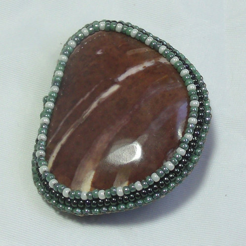 Natural stone beaded brooch