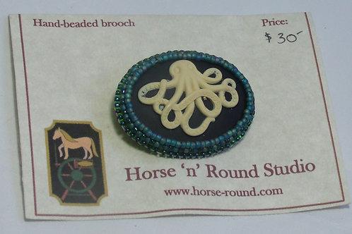 Kraken or octopus beaded brooch