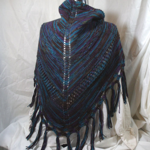 Fringed Triangle shawl with lace insets