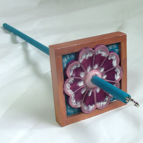 Pink, Purple and White Morning Glory with Copper Border Large Drop Spindle