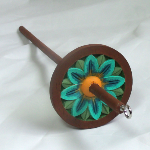 Turquoise and Brown With Golden Background Medium Spindle