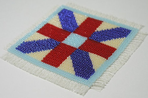 Beadpoint Coasters - Red/White/Blue Cross quilt pattern