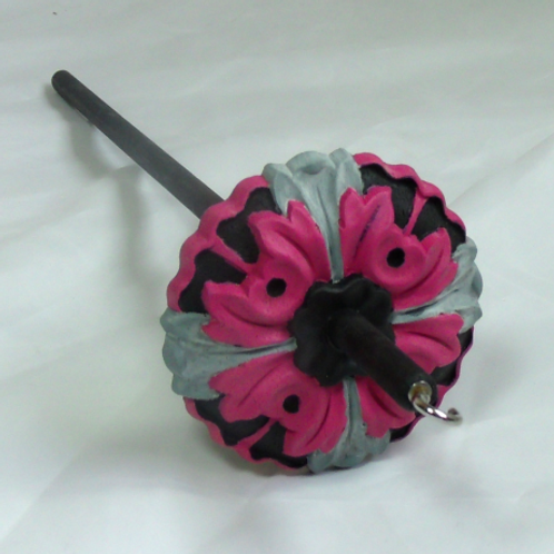 Pink, Grey and Black Textured Medium Drop Spindle