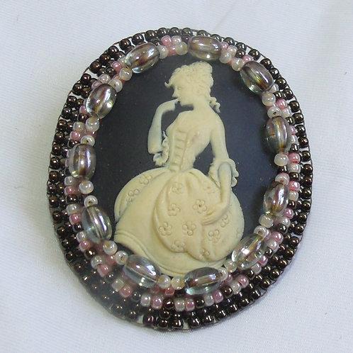 Victorian Coquette cameo brooch on black