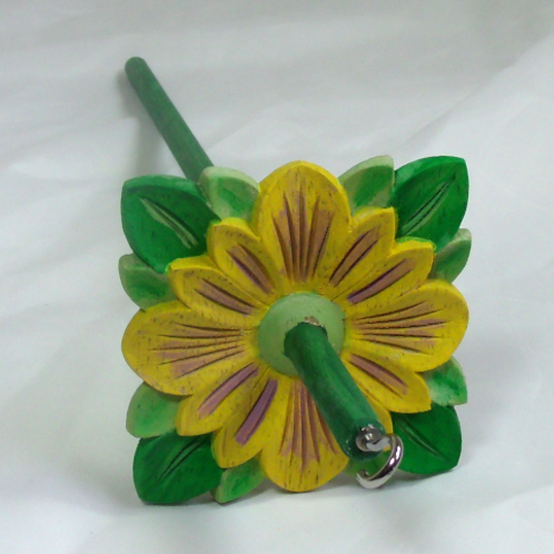 Yellow and white flower on a sparkle Violet field Medium Drop Spindle