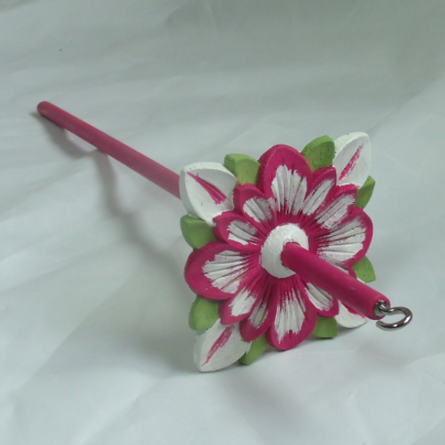 Fuchsia and White Daisy Medium Drop Spindle