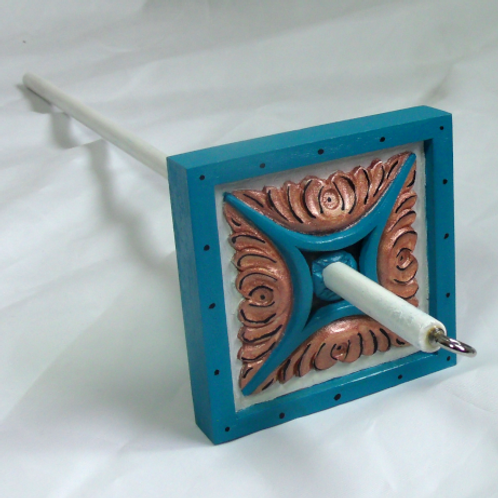 Turquoise and Copper Feathered Large Drop Spindle