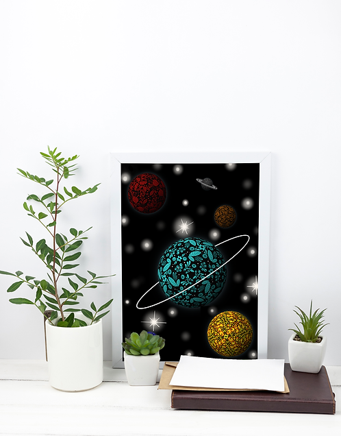 A4 Print - Patterned Planet