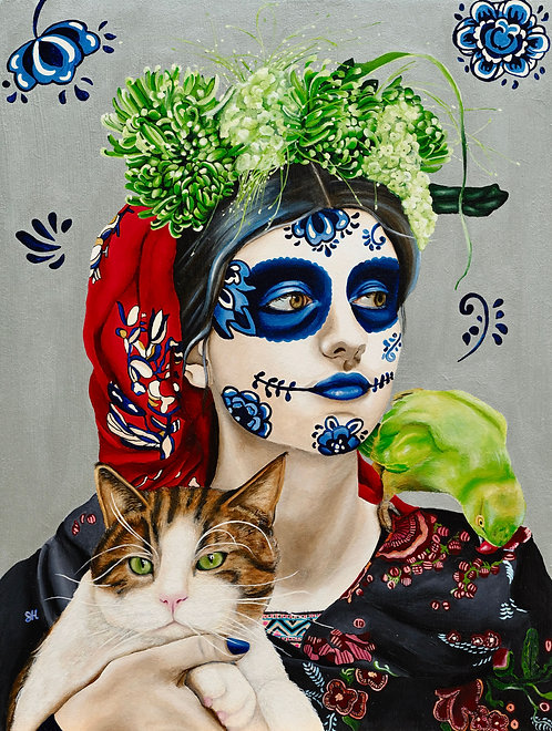 Portrait of a Girl with Cat and Bird