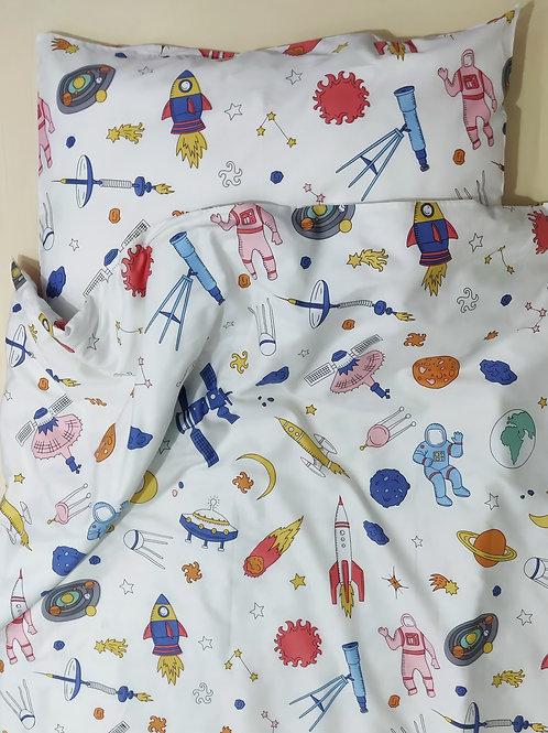 Комплект постельного белья «Космос в светлом» , сатин