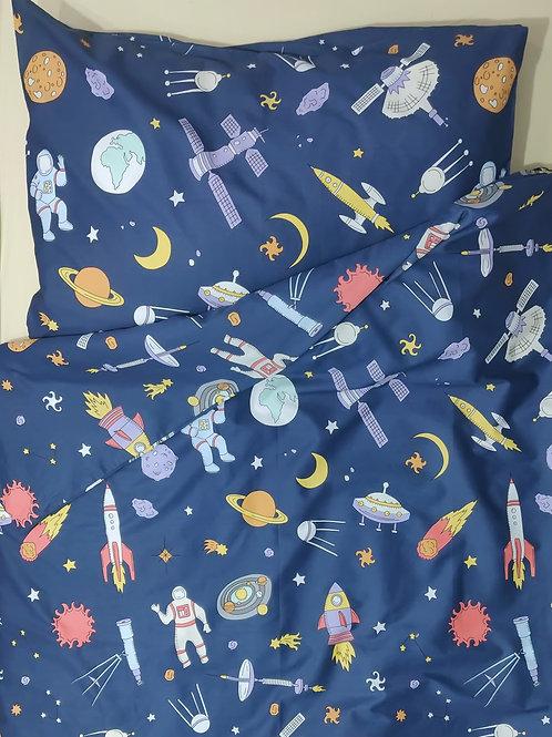 Комплект постельного белья «Космос в синем» , сатин