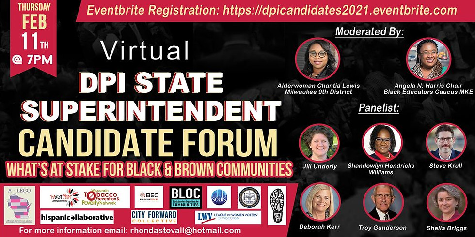 Virtual DPI State Superintendent Candidate Forum: What's at Stake For Black & Brown Communities