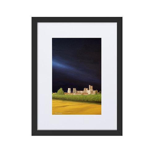 'La ciudad y la huerta' framed matte print with mount (30x40cm frame)